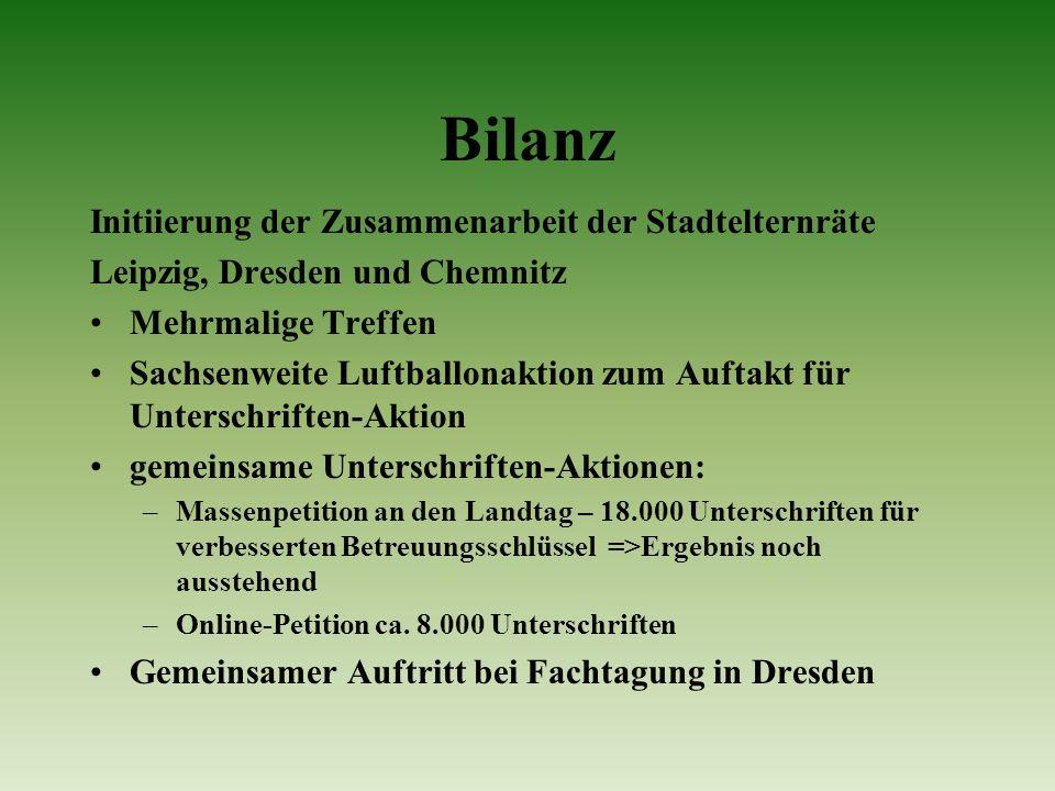 Bilanz Initiierung der Zusammenarbeit der Stadtelternräte Leipzig, Dresden und Chemnitz Mehrmalige Treffen Sachsenweite Luftballonaktion zum Auftakt f