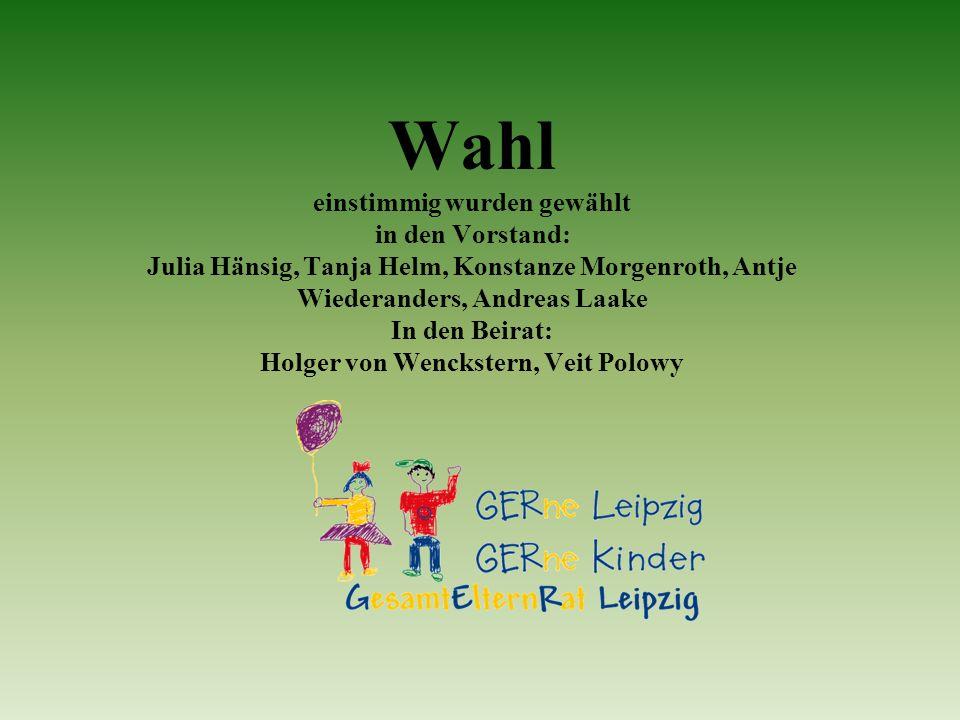 Wahl einstimmig wurden gewählt in den Vorstand: Julia Hänsig, Tanja Helm, Konstanze Morgenroth, Antje Wiederanders, Andreas Laake In den Beirat: Holge
