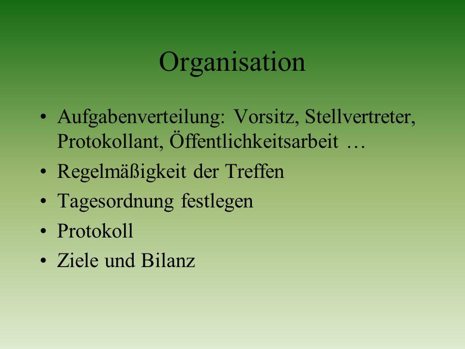 Organisation Aufgabenverteilung: Vorsitz, Stellvertreter, Protokollant, Öffentlichkeitsarbeit … Regelmäßigkeit der Treffen Tagesordnung festlegen Prot