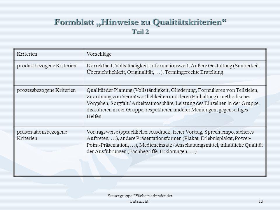 Steuergruppe Fächerverbindender Unterricht 13 Formblatt Hinweise zu Qualitätskriterien Teil 2 KriterienVorschläge produktbezogene Kriterien Korrektheit, Vollständigkeit, Informationswert, Äußere Gestaltung (Sauberkeit, Übersichtlichkeit, Originalität, …), Termingerechte Erstellung prozessbezogene Kriterien Qualität der Planung (Vollständigkeit, Gliederung, Formulieren von Teilzielen, Zuordnung von Verantwortlichkeiten und deren Einhaltung), methodisches Vorgehen, Sorgfalt / Arbeitsatmosphäre, Leistung des Einzelnen in der Gruppe, diskutieren in der Gruppe, respektieren anderer Meinungen, gegenseitiges Helfen präsentationsbezogene Kriterien Vortragsweise (sprachlicher Ausdruck, freier Vortrag, Sprechtempo, sicheres Auftreten, …), andere Präsentationsformen (Plakat, Erlebnisplakat, Power- Point-Präsentation, …), Medieneinsatz / Anschauungsmittel, inhaltliche Qualität der Ausführungen (Fachbegriffe, Erklärungen, …)