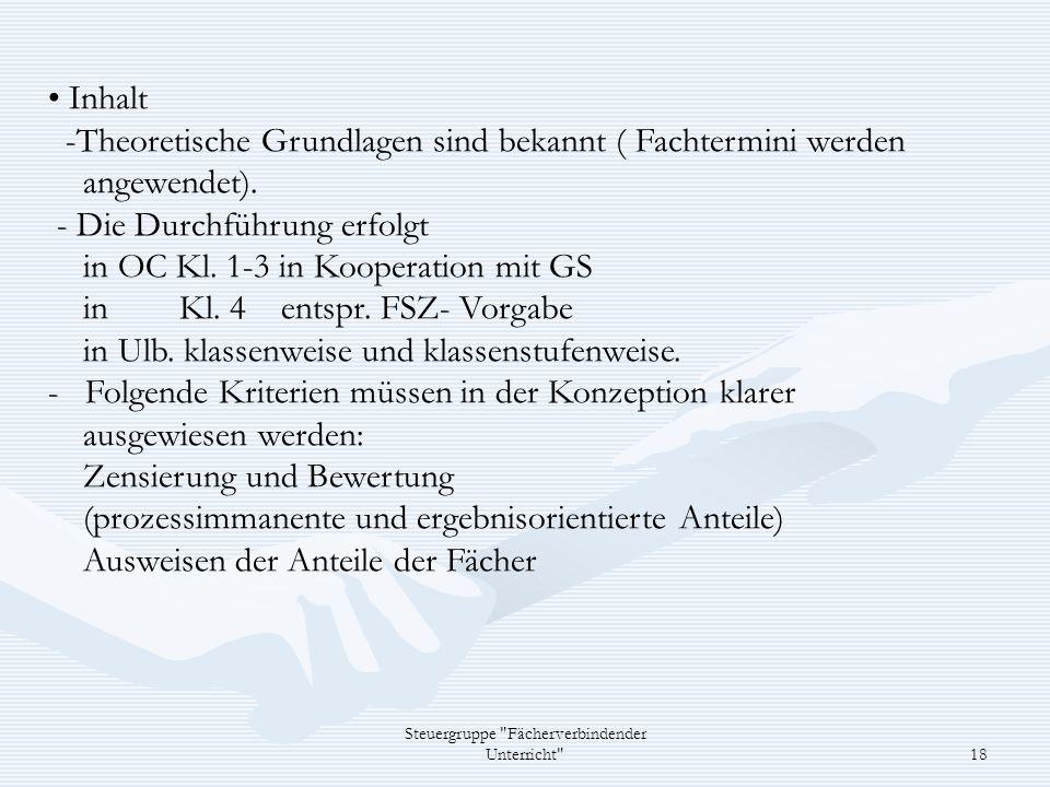 Steuergruppe Fächerverbindender Unterricht 18 Inhalt -Theoretische Grundlagen sind bekannt ( Fachtermini werden angewendet).