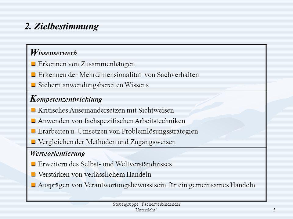 Steuergruppe Fächerverbindender Unterricht 6 3.