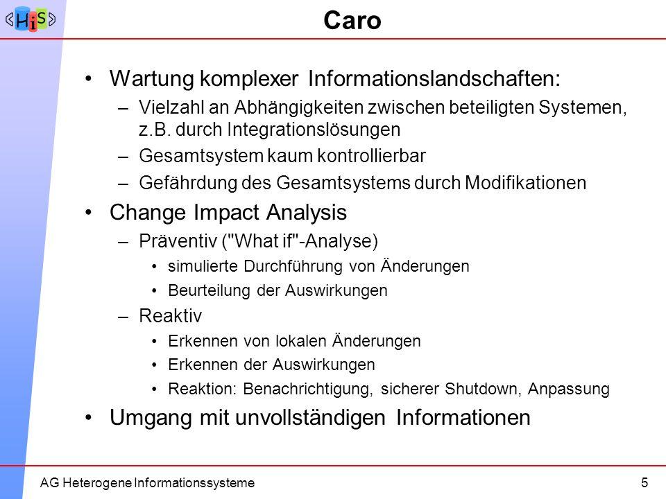 10AG Heterogene Informationssysteme Caro Wartung komplexer Informationslandschaften: –Vielzahl an Abhängigkeiten zwischen beteiligten Systemen, z.B. d