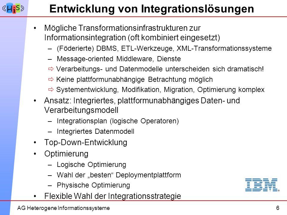 11AG Heterogene Informationssysteme Entwicklung von Integrationslösungen Mögliche Transformationsinfrastrukturen zur Informationsintegration (oft komb