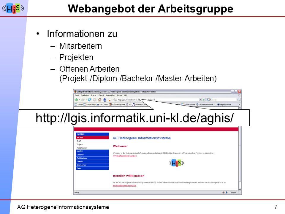 12AG Heterogene Informationssysteme Webangebot der Arbeitsgruppe Informationen zu –Mitarbeitern –Projekten –Offenen Arbeiten (Projekt-/Diplom-/Bachelo