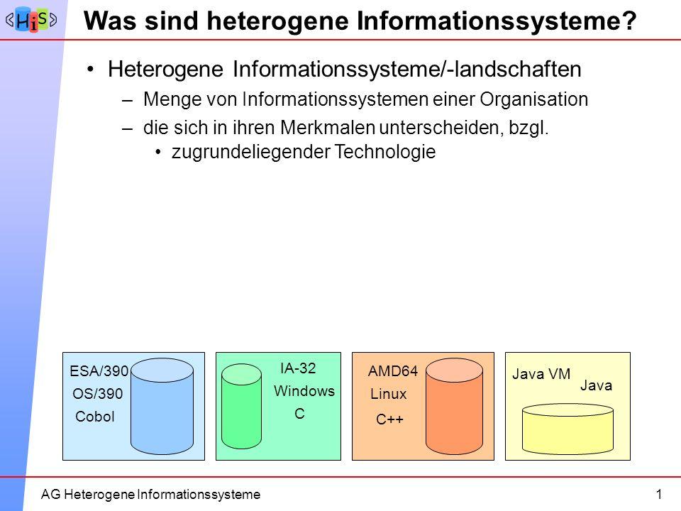 2AG Heterogene Informationssysteme Was sind heterogene Informationssysteme? Heterogene Informationssysteme/-landschaften 1 –Menge von Informationssyst