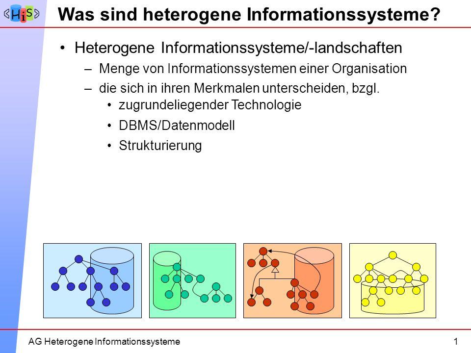 4AG Heterogene Informationssysteme zugrundeliegender Technologie DBMS/Datenmodell Strukturierung Was sind heterogene Informationssysteme? 1 Heterogene