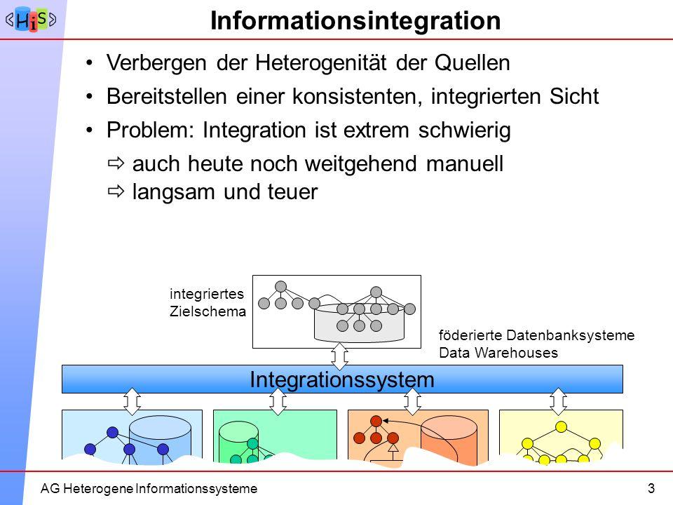 8AG Heterogene Informationssysteme Informationsintegration AG Heterogene Informationssysteme3 Problem: Integration ist extrem schwierig Verbergen der