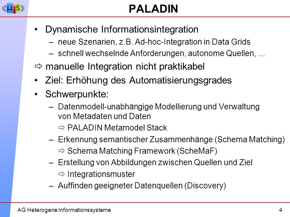 9AG Heterogene Informationssysteme PALADIN Dynamische Informationsintegration –neue Szenarien, z.B. Ad-hoc-Integration in Data Grids –schnell wechseln