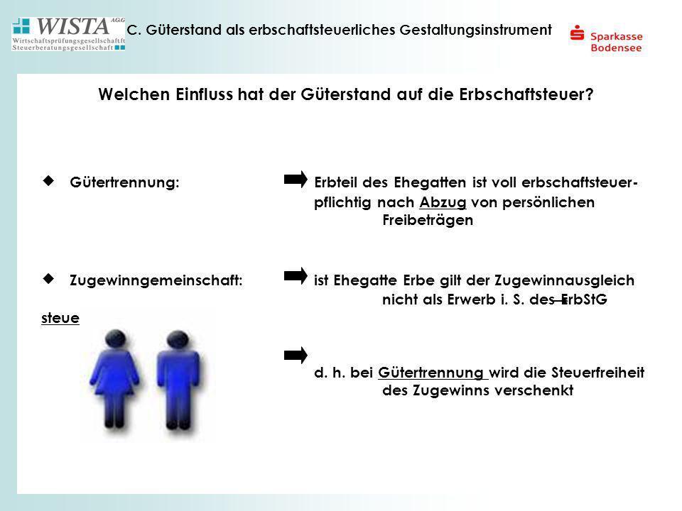 C. Güterstand als erbschaftsteuerliches Gestaltungsinstrument Gütertrennung: Erbteil des Ehegatten ist voll erbschaftsteuer- pflichtig nach Abzug von