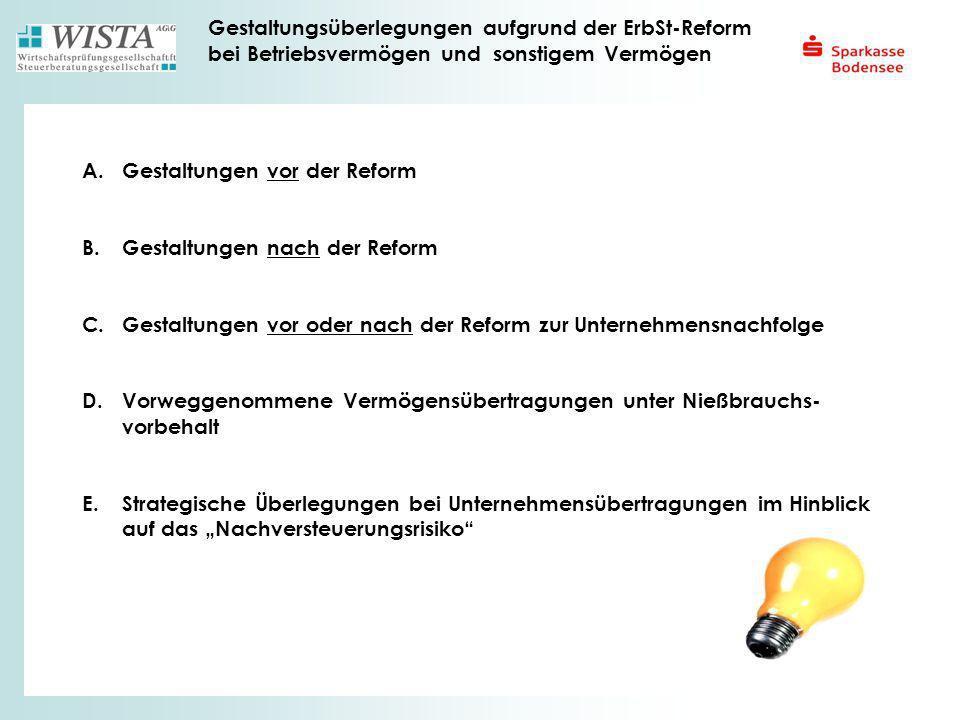 Gestaltungsüberlegungen aufgrund der ErbSt-Reform bei Betriebsvermögen und sonstigem Vermögen A. Gestaltungen vor der Reform B.Gestaltungen nach der R