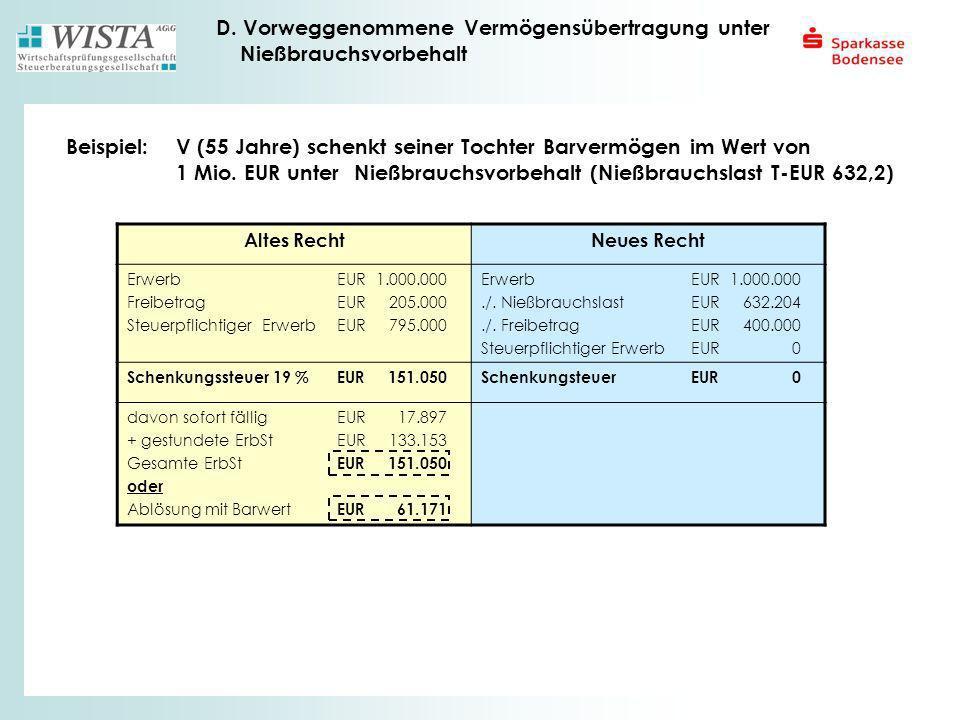 D. Vorweggenommene Vermögensübertragung unter Nießbrauchsvorbehalt Beispiel:V (55 Jahre) schenkt seiner Tochter Barvermögen im Wert von 1 Mio. EUR unt