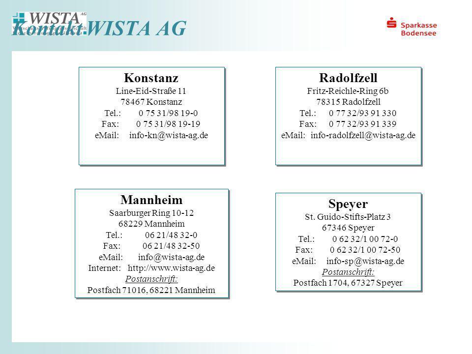 Kontakt WISTA AG Mannheim Saarburger Ring 10-12 68229 Mannheim Tel.:06 21/48 32-0 Fax:06 21/48 32-50 eMail:info@wista-ag.de Internet:http://www.wista-