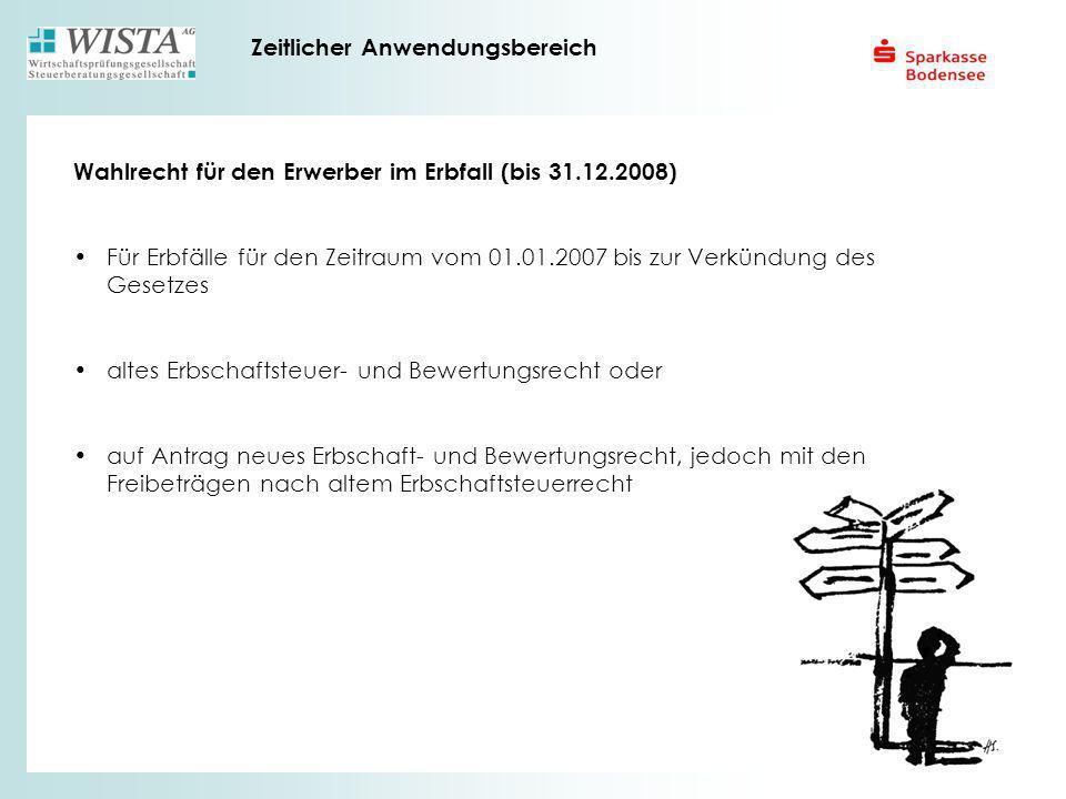 Zeitlicher Anwendungsbereich Wahlrecht für den Erwerber im Erbfall (bis 31.12.2008) Für Erbfälle für den Zeitraum vom 01.01.2007 bis zur Verkündung de