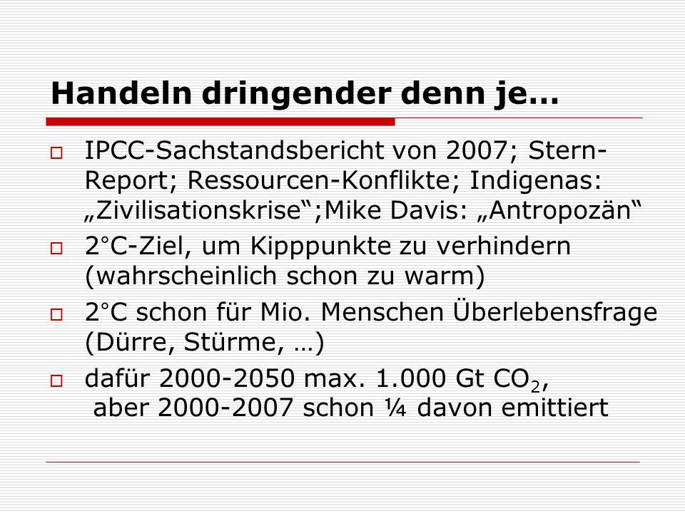 Handeln dringender denn je… IPCC-Sachstandsbericht von 2007; Stern- Report; Ressourcen-Konflikte; Indigenas: Zivilisationskrise;Mike Davis: Antropozän 2°C-Ziel, um Kipppunkte zu verhindern (wahrscheinlich schon zu warm) 2°C schon für Mio.