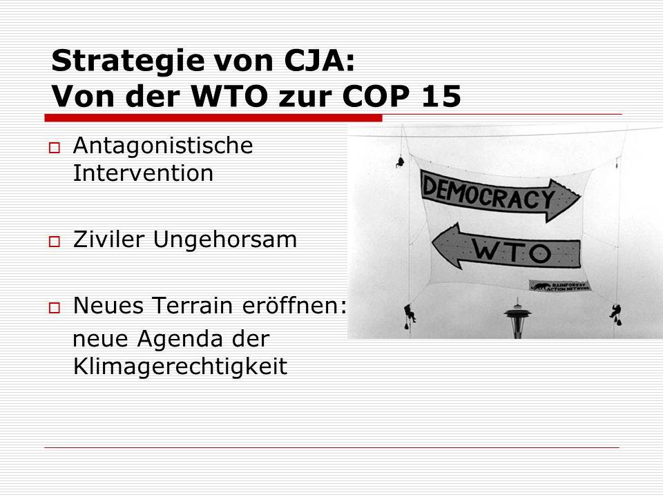 Strategie von CJA: Von der WTO zur COP 15 Antagonistische Intervention Ziviler Ungehorsam Neues Terrain eröffnen: neue Agenda der Klimagerechtigkeit
