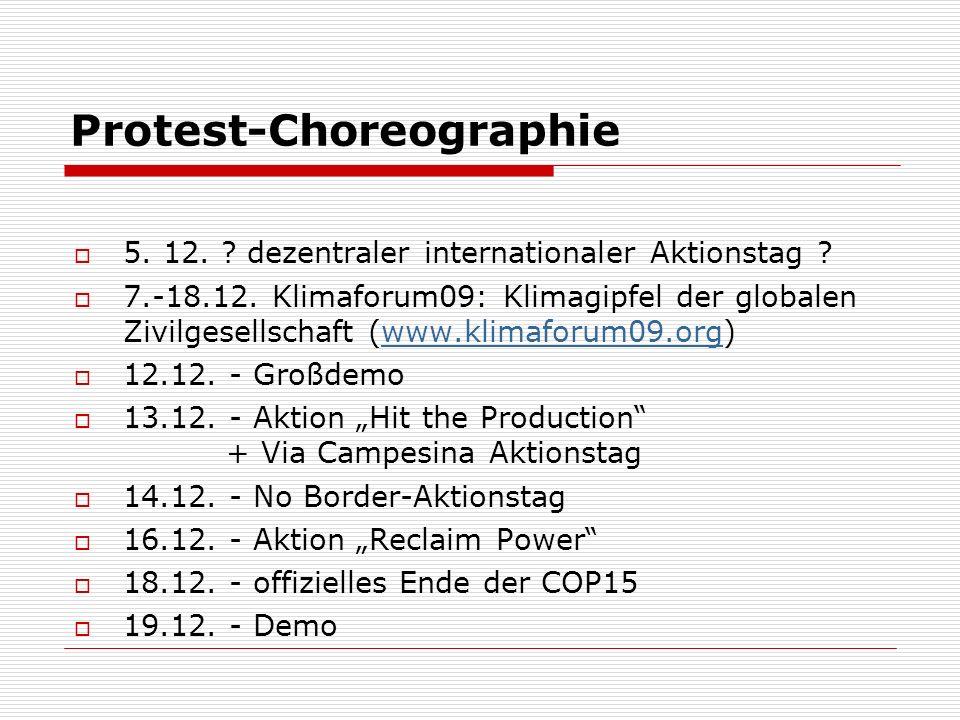 Protest-Choreographie 5. 12. ? dezentraler internationaler Aktionstag ? 7.-18.12. Klimaforum09: Klimagipfel der globalen Zivilgesellschaft (www.klimaf
