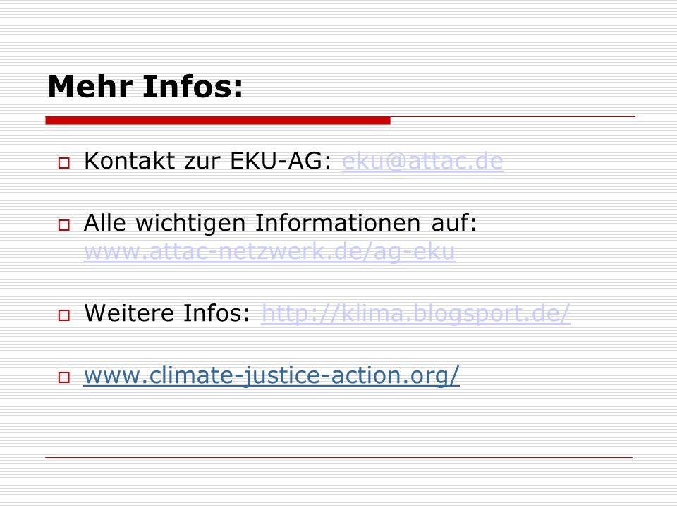 Mehr Infos: Kontakt zur EKU-AG: eku@attac.deeku@attac.de Alle wichtigen Informationen auf: www.attac-netzwerk.de/ag-eku www.attac-netzwerk.de/ag-eku Weitere Infos: http://klima.blogsport.de/http://klima.blogsport.de/ www.climate-justice-action.org/