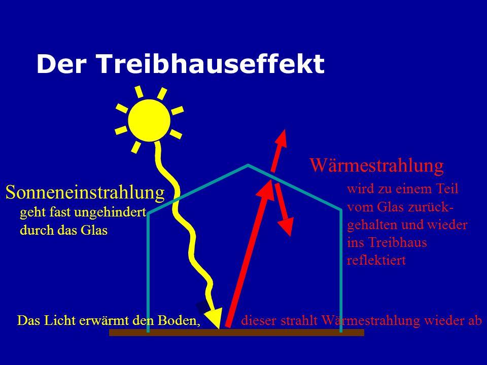 Der Treibhauseffekt Sonneneinstrahlung Wärmestrahlung geht fast ungehindert durch das Glas Das Licht erwärmt den Boden, dieser strahlt Wärmestrahlung wieder ab wird zu einem Teil vom Glas zurück- gehalten und wieder ins Treibhaus reflektiert
