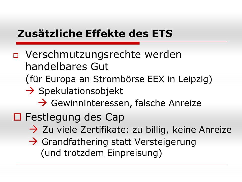Zusätzliche Effekte des ETS Verschmutzungsrechte werden handelbares Gut ( für Europa an Strombörse EEX in Leipzig) Spekulationsobjekt Gewinninteressen, falsche Anreize Festlegung des Cap Zu viele Zertifikate: zu billig, keine Anreize Grandfathering statt Versteigerung (und trotzdem Einpreisung)