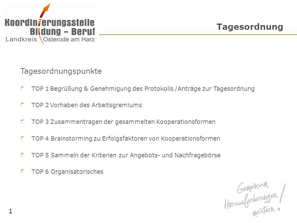 Tagesordnung Tagesordnungspunkte TOP 1Begrüßung & Genehmigung des Protokolls /Anträge zur Tagesordnung TOP 2Vorhaben des Arbeitsgremiums TOP 3Zusammen