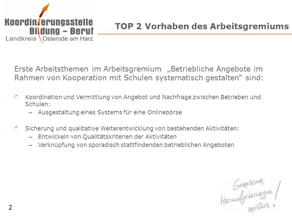 TOP 2 Vorhaben des Arbeitsgremiums Erste Arbeitsthemen im Arbeitsgremium Betriebliche Angebote im Rahmen von Kooperation mit Schulen systematisch gest