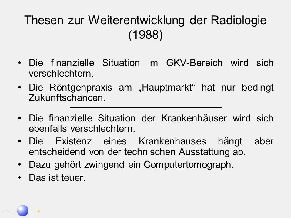 Thesen zur Weiterentwicklung der Radiologie (1988) Die finanzielle Situation im GKV-Bereich wird sich verschlechtern. Die Röntgenpraxis am Hauptmarkt
