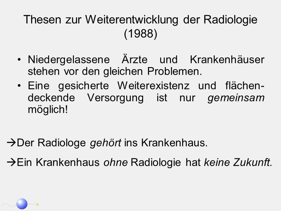 Thesen zur Weiterentwicklung der Radiologie (1988) Niedergelassene Ärzte und Krankenhäuser stehen vor den gleichen Problemen. Eine gesicherte Weiterex