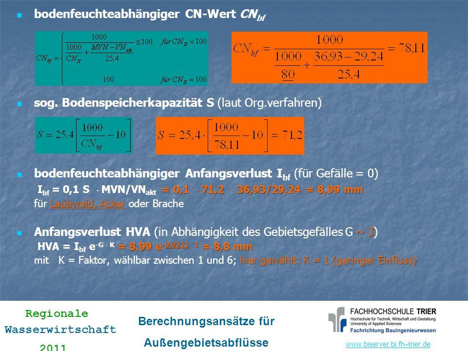 www.biserver.bi.fhwww.biserver.bi.fh–trier.de Regionale Wasserwirtschaft 2011 Berechnungsansätze für Außengebietsabflüsse bodenfeuchteabhängiger CN-We