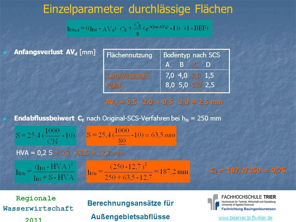 www.biserver.bi.fhwww.biserver.bi.fh–trier.de Regionale Wasserwirtschaft 2011 Berechnungsansätze für Außengebietsabflüsse Einzelparameter durchlässige