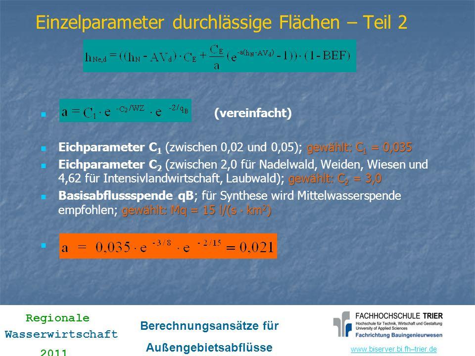 www.biserver.bi.fhwww.biserver.bi.fh–trier.de Regionale Wasserwirtschaft 2011 Berechnungsansätze für Außengebietsabflüsse (vereinfacht) gewählt: C 1 =