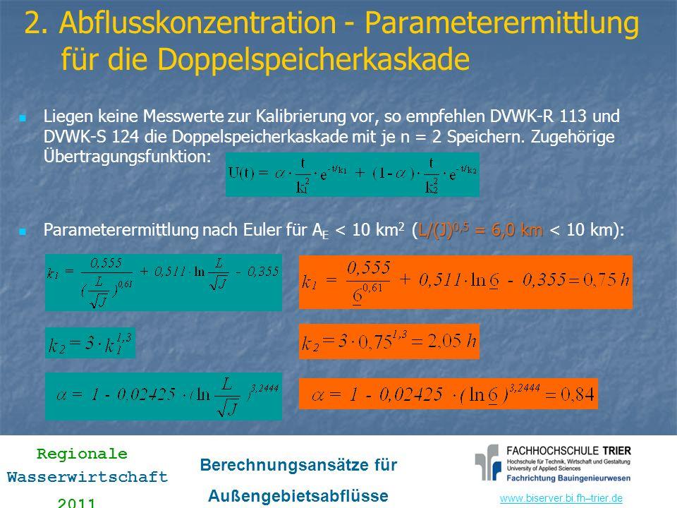 www.biserver.bi.fhwww.biserver.bi.fh–trier.de Regionale Wasserwirtschaft 2011 Berechnungsansätze für Außengebietsabflüsse Liegen keine Messwerte zur K