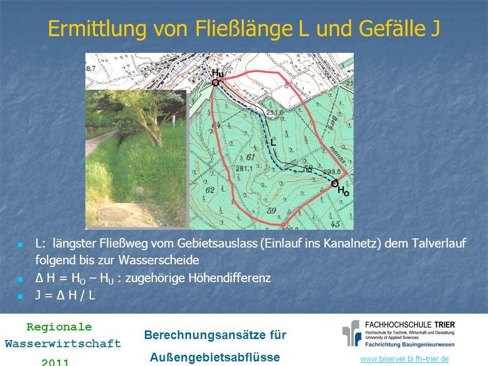 www.biserver.bi.fhwww.biserver.bi.fh–trier.de Regionale Wasserwirtschaft 2011 Berechnungsansätze für Außengebietsabflüsse (vereinfacht) gewählt: C 1 = 0,035 Eichparameter C 1 (zwischen 0,02 und 0,05); gewählt: C 1 = 0,035 gewählt: C 2 = 3,0 Eichparameter C 2 (zwischen 2,0 für Nadelwald, Weiden, Wiesen und 4,62 für Intensivlandwirtschaft, Laubwald); gewählt: C 2 = 3,0 gewählt: Mq = 15 l/(s km 2 ) Basisabflussspende qB; für Synthese wird Mittelwasserspende empfohlen; gewählt: Mq = 15 l/(s km 2 ) Einzelparameter durchlässige Flächen – Teil 2