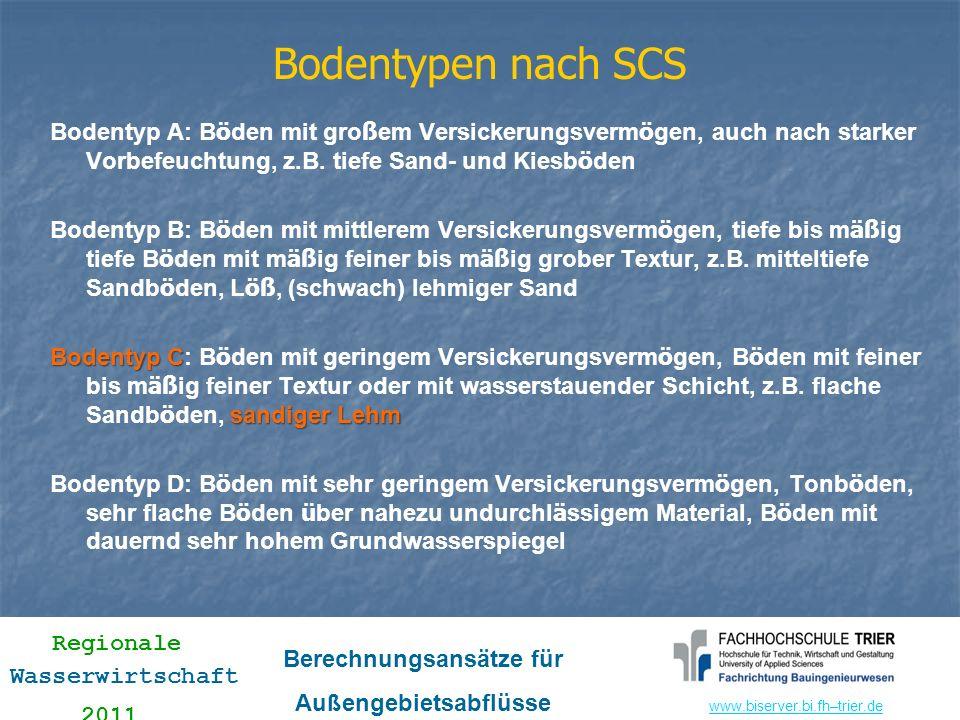 www.biserver.bi.fhwww.biserver.bi.fh–trier.de Regionale Wasserwirtschaft 2011 Berechnungsansätze für Außengebietsabflüsse Bodentypen nach SCS Bodentyp