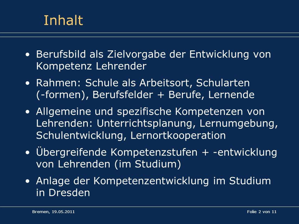Bremen, 19.05.2011 Folie 2 von 11 Inhalt Berufsbild als Zielvorgabe der Entwicklung von Kompetenz Lehrender Rahmen: Schule als Arbeitsort, Schularten