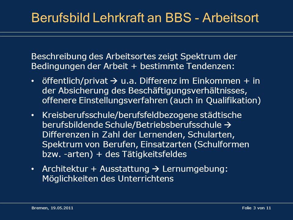 Folie 3 von 11 Berufsbild Lehrkraft an BBS - Arbeitsort Beschreibung des Arbeitsortes zeigt Spektrum der Bedingungen der Arbeit + bestimmte Tendenzen: