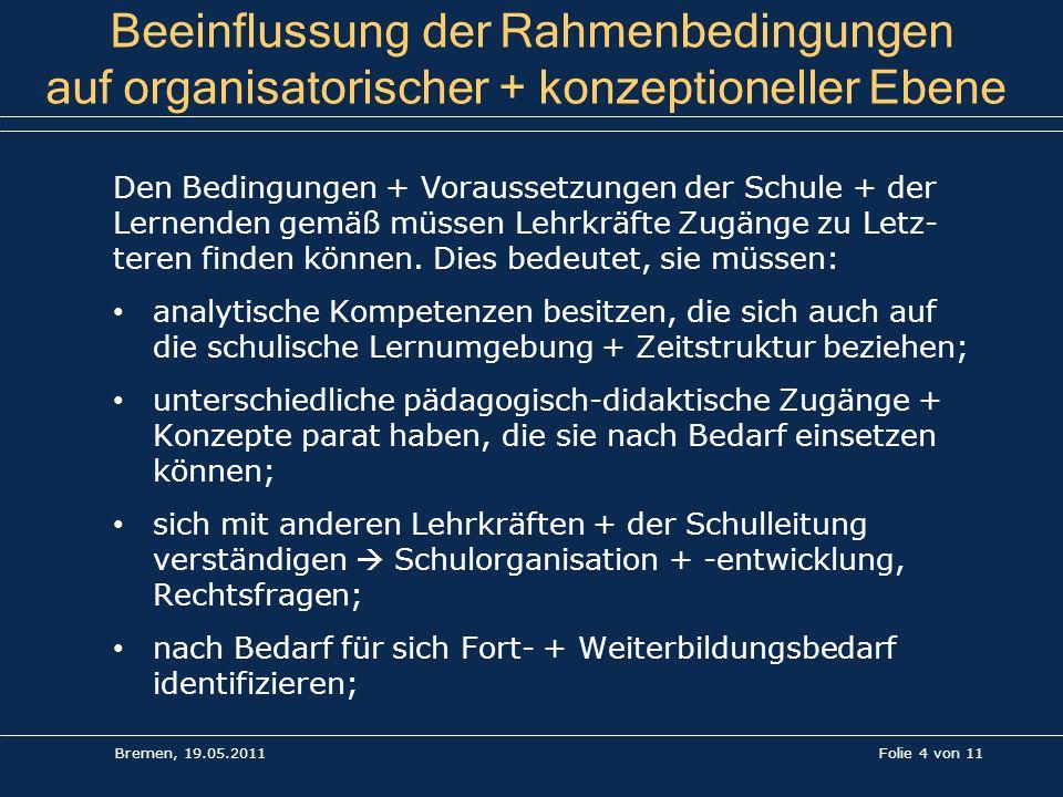 Folie 4 von 11 Beeinflussung der Rahmenbedingungen auf organisatorischer + konzeptioneller Ebene Den Bedingungen + Voraussetzungen der Schule + der Le