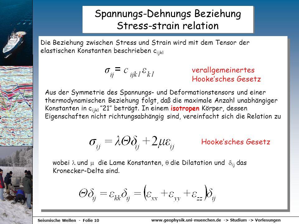 www.geophysik.uni-muenchen.de -> Studium -> Vorlesungen Seismische Wellen - Folie 10 Spannungs-Dehnungs Beziehung Stress-strain relation Die Beziehung