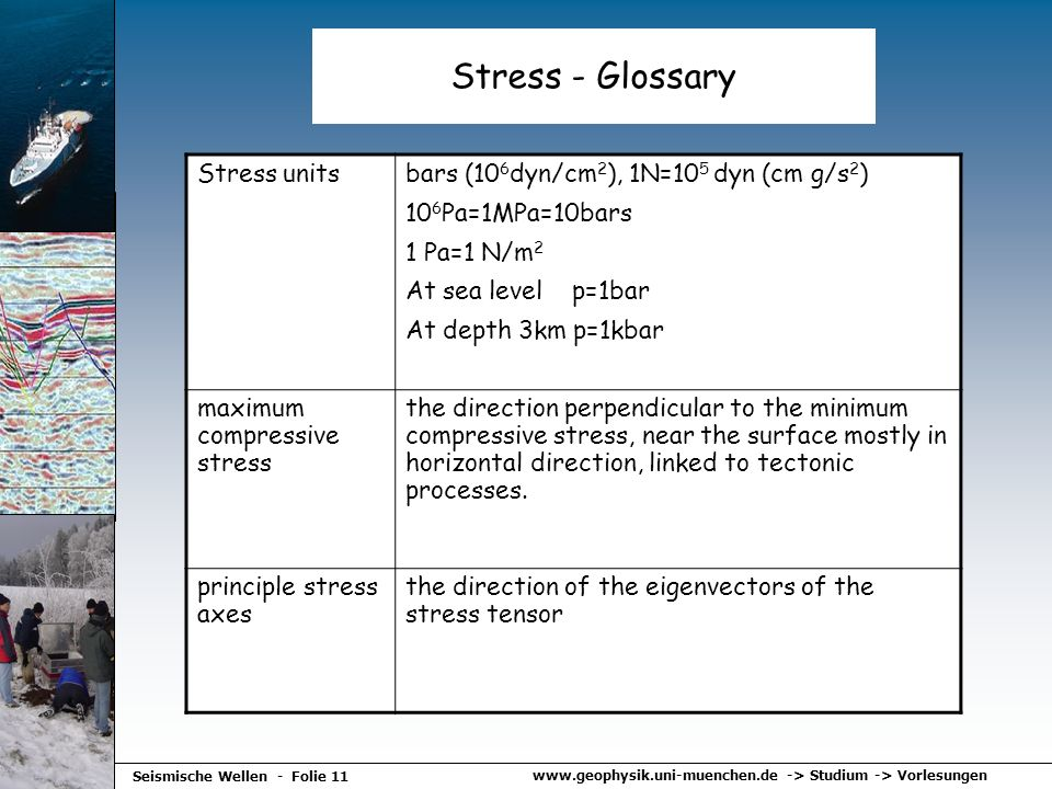www.geophysik.uni-muenchen.de -> Studium -> Vorlesungen Seismische Wellen - Folie 11 Stress - Glossary Stress unitsbars (10 6 dyn/cm 2 ), 1N=10 5 dyn
