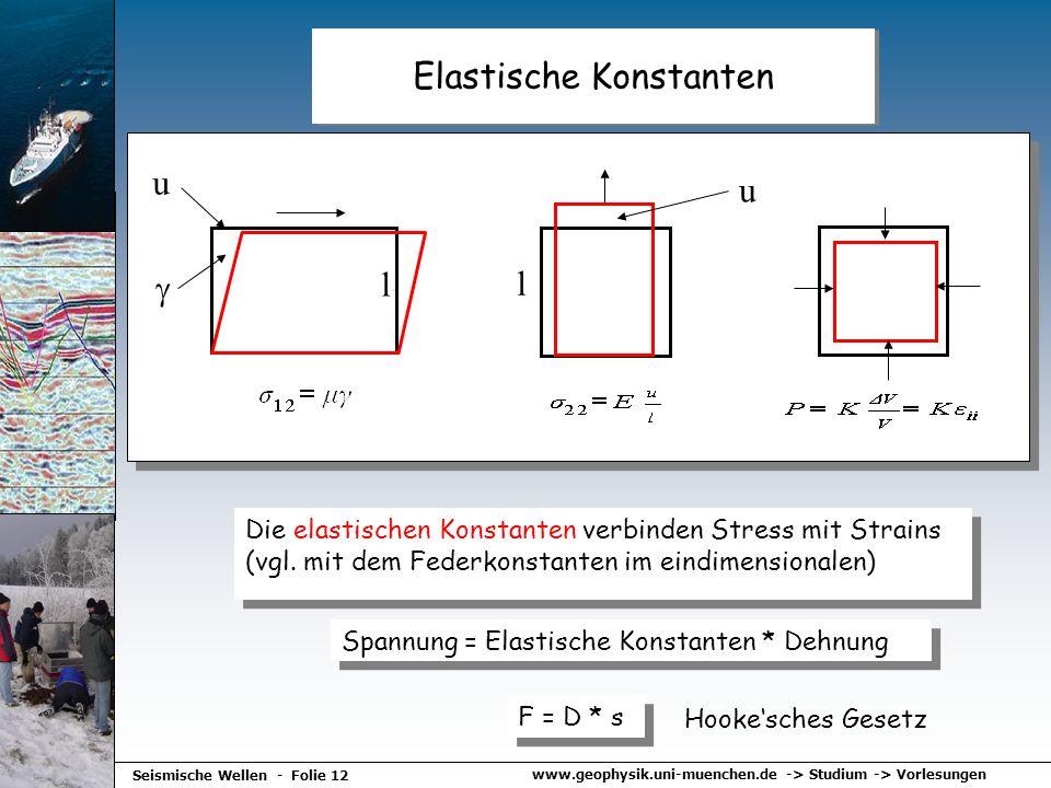 www.geophysik.uni-muenchen.de -> Studium -> Vorlesungen Seismische Wellen - Folie 12 Elastische Konstanten l u l u Die elastischen Konstanten verbinde