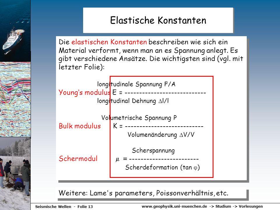 www.geophysik.uni-muenchen.de -> Studium -> Vorlesungen Seismische Wellen - Folie 13 Elastische Konstanten Die elastischen Konstanten beschreiben wie