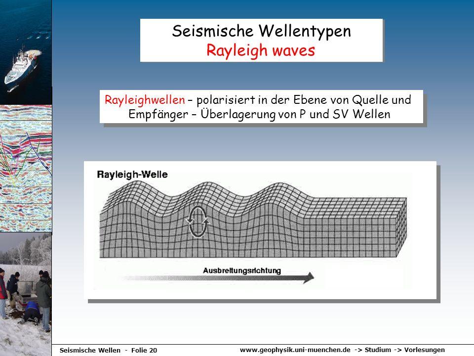 www.geophysik.uni-muenchen.de -> Studium -> Vorlesungen Seismische Wellen - Folie 20 Seismische Wellentypen Rayleigh waves Rayleighwellen – polarisier