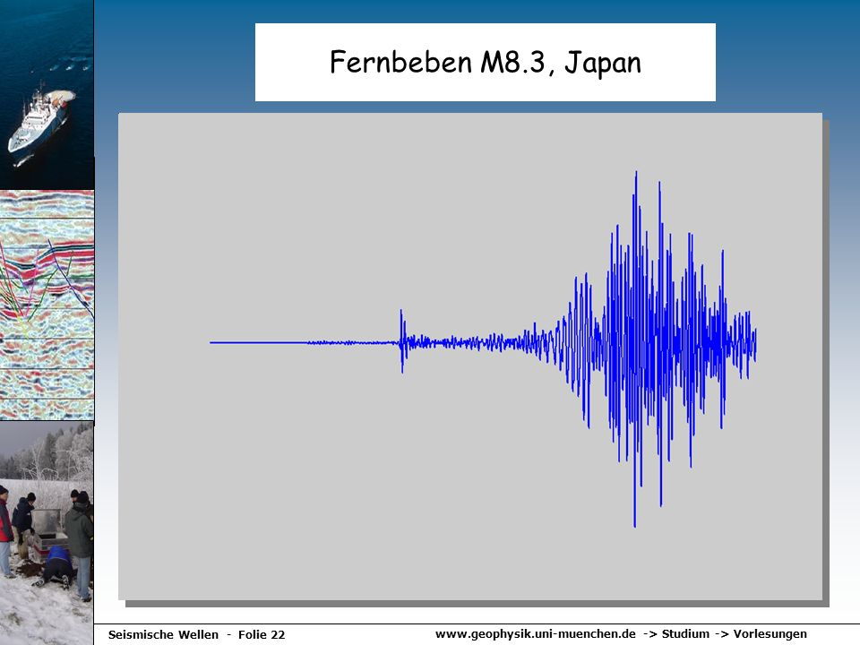 www.geophysik.uni-muenchen.de -> Studium -> Vorlesungen Seismische Wellen - Folie 22 Fernbeben M8.3, Japan