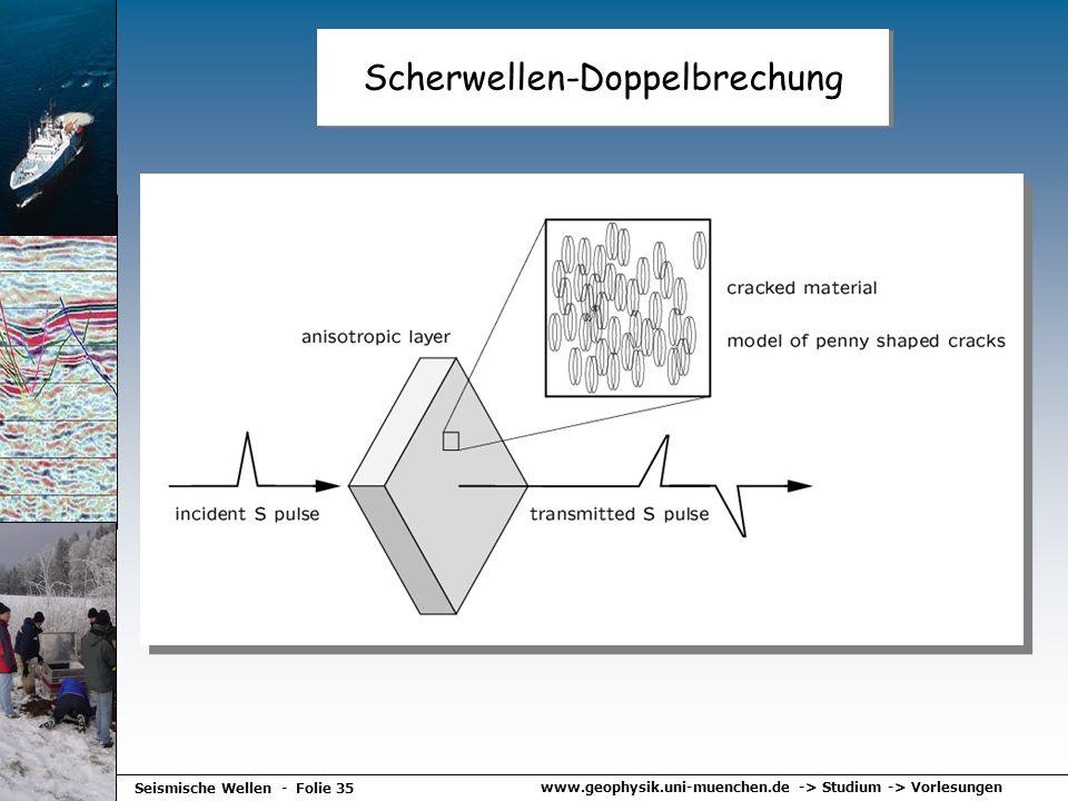 www.geophysik.uni-muenchen.de -> Studium -> Vorlesungen Seismische Wellen - Folie 35 Scherwellen-Doppelbrechung