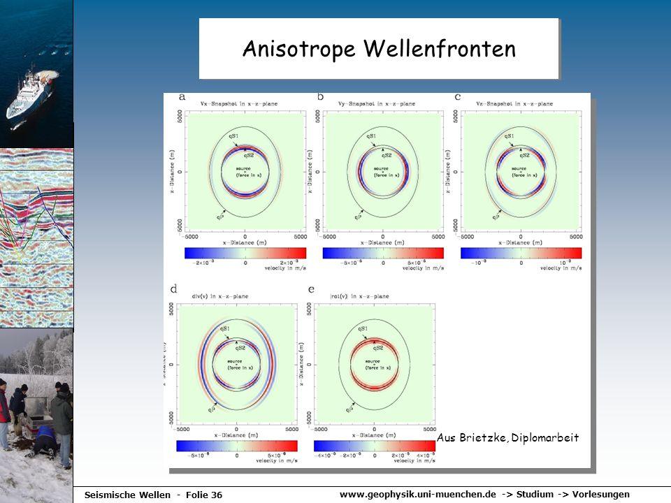 www.geophysik.uni-muenchen.de -> Studium -> Vorlesungen Seismische Wellen - Folie 36 Anisotrope Wellenfronten Aus Brietzke, Diplomarbeit