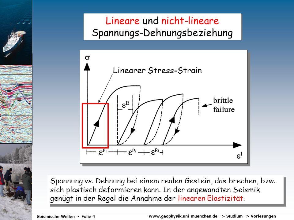 www.geophysik.uni-muenchen.de -> Studium -> Vorlesungen Seismische Wellen - Folie 4 Lineare und nicht-lineare Spannungs-Dehnungsbeziehung Spannung vs.