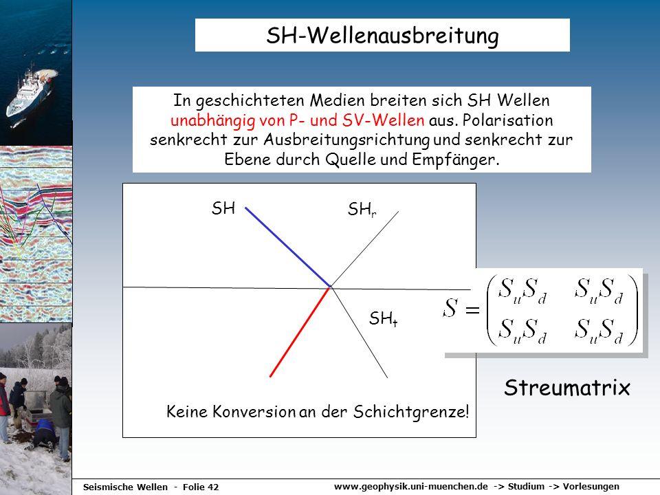 www.geophysik.uni-muenchen.de -> Studium -> Vorlesungen Seismische Wellen - Folie 42 SH-Wellenausbreitung In geschichteten Medien breiten sich SH Well