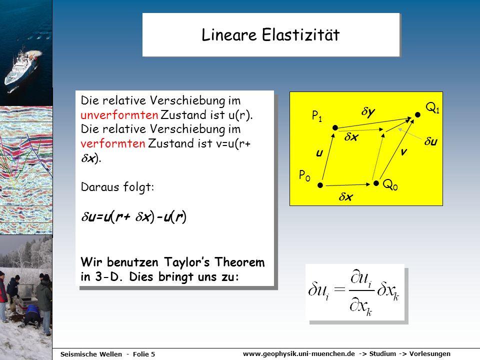 www.geophysik.uni-muenchen.de -> Studium -> Vorlesungen Seismische Wellen - Folie 5 Lineare Elastizität Die relative Verschiebung im unverformten Zust