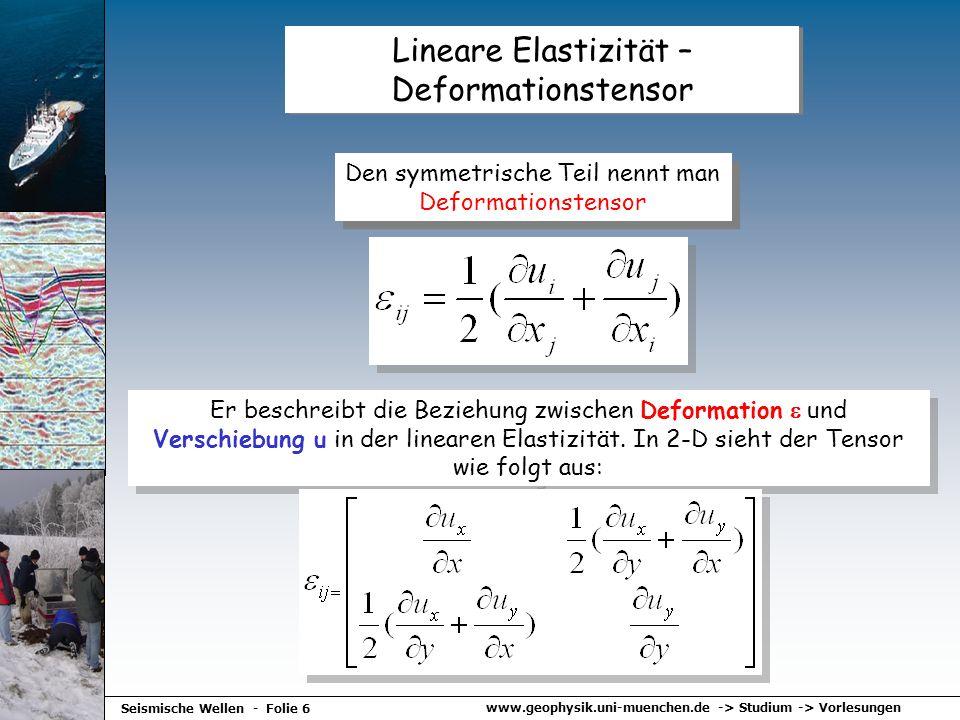 www.geophysik.uni-muenchen.de -> Studium -> Vorlesungen Seismische Wellen - Folie 6 Lineare Elastizität – Deformationstensor Den symmetrische Teil nen
