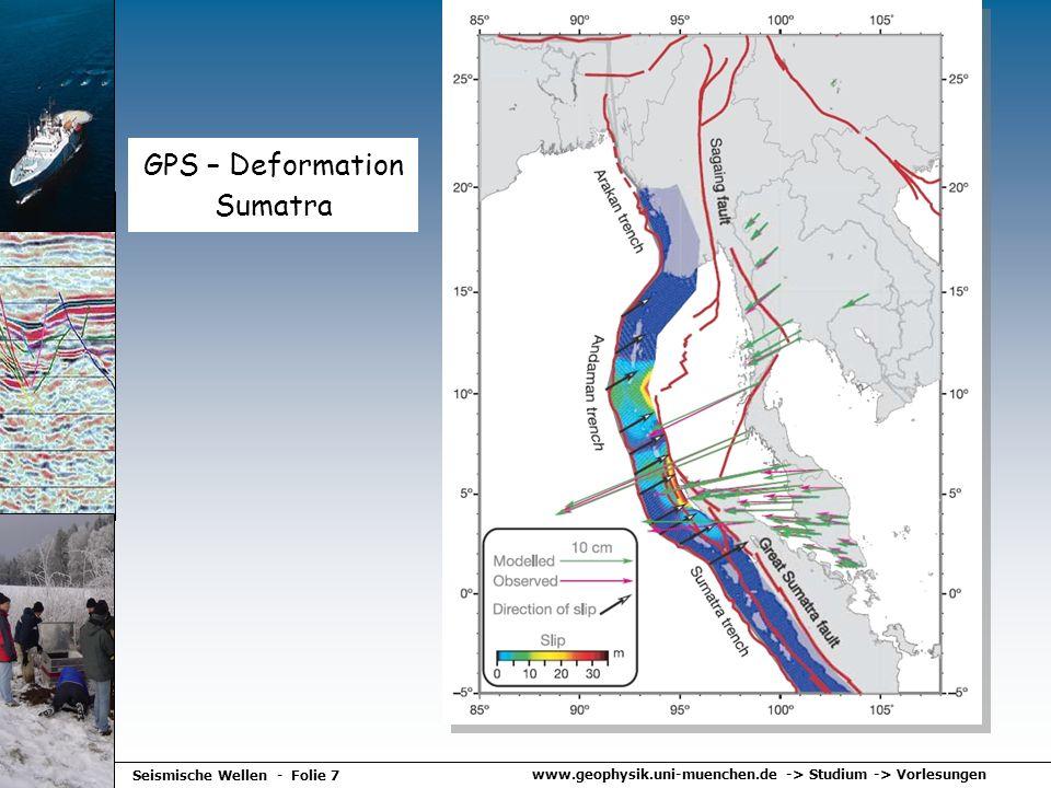 www.geophysik.uni-muenchen.de -> Studium -> Vorlesungen Seismische Wellen - Folie 7 GPS – Deformation Sumatra